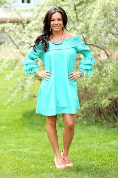 Southern Glamour Belle Sleeve Lace Dress Turquoise - Modern Vintage Boutique