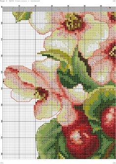h 5 Cross Stitch Fruit, Cross Stitch Kitchen, Cross Stitch Rose, Cross Stitch Flowers, Cross Stitching, Cross Stitch Embroidery, Hand Embroidery, Cross Stitch Patterns, Flowers For You