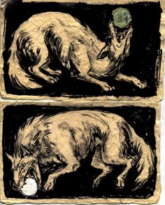 "the Norse mythological tale about two wolves who wish to eat the Sun and Moon.The monstrous wolf Fenrir had two sons; Sköll (Old Norse for ""Treachery"") and Hati (""He Who Hates, Enemy"").   Sköll chases the Sun, and Hati, running ahead of the Sun, goes after the Moon. When either are caught, there is an eclipse. When this happens, Vikings used to rush to rescue the Sun or Moon by making as much noise as they can in hopes of scaring off the wolves"