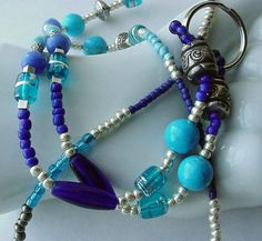 Beaded ID Lanyard Badge Holder Turquoise Cobalt by TheMermaidsSong, $23.00