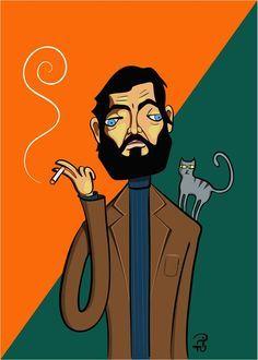 Julio Cortazar fumando con su gato. Ilustración de Pitu Saa.