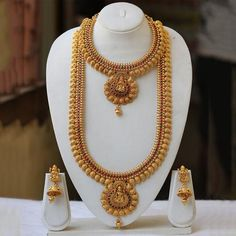 Gold Plated Antique Haram Rani Haar Long Necklace Set With Jhumki Earrings Jewelry Design Earrings, Gold Earrings Designs, Necklace Designs, Gold Temple Jewellery, Gold Wedding Jewelry, Gold Jewelry, Bridal Jewelry, Indian Jewelry Sets, Silver Jewellery Indian