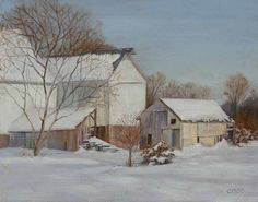 """""""Barns in Snow"""" by Jo-Ann Osnoe at the Artists' Gallery"""