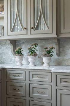 "Kitchen cabinet paint color is ""Revere Pewter Benjamin Moore HC-172"". Taste Design Inc. by sandybeach61"
