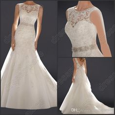 Wholesale A Line Wedding Dresses - Buy Brand New Jewel Neck Tulle with Lace Applique And Beadings with Bow Mermaid Bride's Wedding Dresses Z...