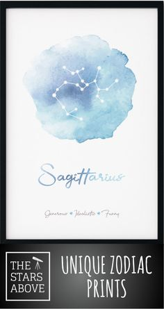 This stunning Watercolor Zodiac Wall Art featuring the Sagittarius Sign comes printed on a gorgeous matte poster in a variety of sizes and colors. Free shipping in the US ... check us out.    #constellations #stunning #beautiful #artwork #poster #homedecor #zodiacsigns #zodiac #watercolor  #colorful #styles Astrological Symbols, Zodiac Signs Sagittarius, Sign Printing, Beautiful Artwork, Night Skies, Constellations, Anniversary Gifts, Wedding Gifts, Personalized Gifts