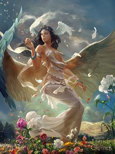 Artist: Xu Cheng aka crow god - Title: 02 - Card: Cresencia, Breath of Life (Legacy)