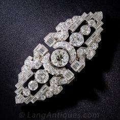 Art Deco Platinum and Diamond Double Clip Brooch - 50-1-4664 - Lang Antiques