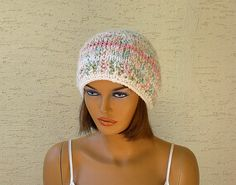 Chunky women beret knitted womens hat in white by KnitterPrincess