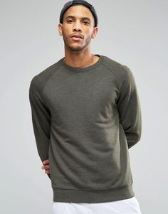 Image 1 of ASOS Sweatshirt In Khaki Marl