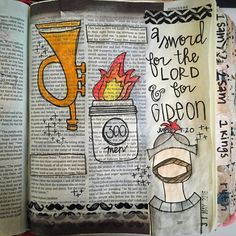 A sword for the Lord and for Gideon . This story for me is definitely of the… Scripture Study, Bible Art, Gideon Bible, Illustrated Words, Bible Stories For Kids, Bible Pictures, Bible Prayers, Wow Products, Trumpet