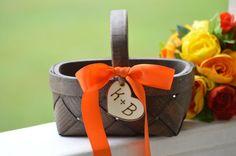 fall flower girl basket orange flower girl by RedHeartCreations
