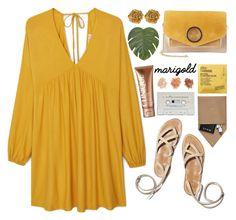 """""""Marigold"""" by lilymadelyn ❤ liked on Polyvore featuring Comodynes, MANGO, Halston Heritage, Liberty, Pier 1 Imports, Forever 21, STOW and Clinique"""