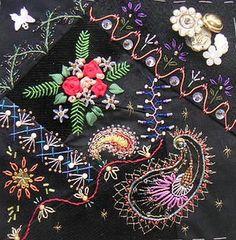 I ❤ crazy quilting & ribbon embroidery . . . CQI Black Jewels DYB - Jo's blocks ~By Hideko