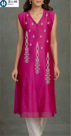 Embroidery On Kurtis, Kurti Embroidery Design, Hand Embroidery Designs, Embroidery Art, Machine Embroidery, Salwar Neck Designs, Lehenga Designs, Baby Frocks Designs, Embroidered Kurti