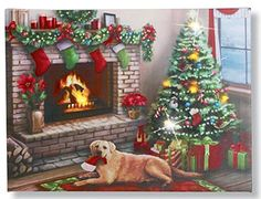 Christmas Tree Labrador Dog Fireplace Scene Lighted Canvas