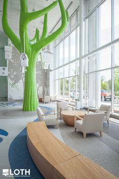 Nationwide Children's Hospital: The outdoors come alive with two-story-high trees, animal friends and artful wallscapes to surprise, entertain and delight patients and families.