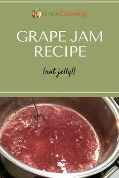 Grape Jam Recipe: both low sugar and full sugar versions of this delightful treat are included. Jelly Recipes, Jam Recipes, Canning Recipes, Concord Grape Jelly, Grape Jam, Triple A Recipe, Homemade Grape Jelly, Sugared Grapes