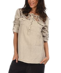 Look what I found on #zulily! Beige Rolled-Hem Button-Tab Linen Tunic by Lila Rose #zulilyfinds