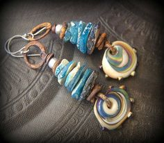 Dream Catcher, Ancient Roman Glass, Lampwork Glass, Primitive,Organic, Rustic, Rusty, Beaded Earrings