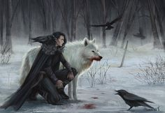Jon Snow and Ghost: Great Concept Art by Sicarius8 | Game of Thrones Fan Art