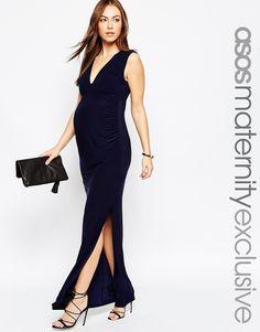 Image 1 ofASOS Maternity GAMZE Slinky Ruched Maxi Dress With Split
