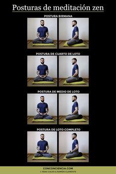 Variantes de la postura de meditación zen (infografía)