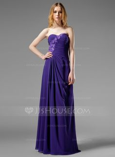 Evening Dresses - $132.99 - A-Line/Princess Sweetheart Floor-Length Chiffon Evening Dress With Ruffle Beading Appliques (017004313) http://jjshouse.com/A-Line-Princess-Sweetheart-Floor-Length-Chiffon-Evening-Dress-With-Ruffle-Beading-Appliques-017004313-g4313