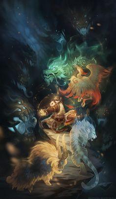 Seven burdens of Shao Hao, Ekaterina Shapovalova on ArtStation at http://www.artstation.com/artwork/seven-burdens-of-shao-hao
