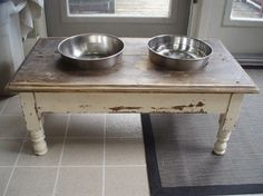 Shes Crafty projects eclectic pet accessories..antique dog bowl table