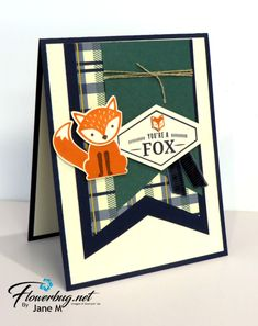 Truly Tailored & Foxy Friends meet up for this cute card from Flowerbug's Inkspot Foxy Friends Punch, Man Crafts, Stamping Up Cards, Fathers Day Cards, Animal Cards, Cards For Friends, Man Birthday, Masculine Cards, Scrapbook Cards
