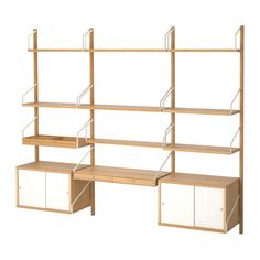 IKEA - SVALNÄS, Wall-mounted workspace combination, bamboo, Hide or display your things by combining open and closed storage. Shelves of different depths and widths mean you have space for everything from trinkets to books. Only for indoor use. Svalnäs Ikea, Ikea Wall, Desks Ikea, Computer Desks, Desk Shelves, Wall Mounted Shelves, Storage Shelves, Shelving Units, Open Shelving
