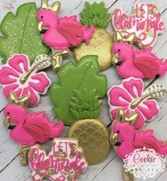 Tropical flamingo cookies
