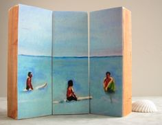 Surf wood block triptych print- surfing decor, beach cottage, bedroom, nursery