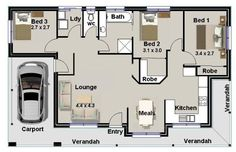 The 72 Best 3 Bedroom House Plans Images On Pinterest Bedroom Size