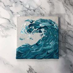 Mini Aquamarine Wave w/Easel — Jenny Dennis -Creative Life Easy Canvas Art, Small Canvas Art, Mini Canvas Art, Diy Canvas, Acrylic Painting Canvas, Mini Tela, Arte Sharpie, Art Sur Toile, Colossal Art