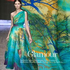 Colorful Pure Silk Chiffon Fabric with Tree of life by CosyFabric