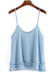 Shop Spaghetti Strap Pom Pom Layered Cami Top at ROMWE, discover more fashion styles online. Girly Outfits, Summer Outfits, Cute Outfits, Fashion Outfits, Top Chic, Layering Tank Tops, Cami Tops, Ladies Dress Design, Spring Summer Fashion