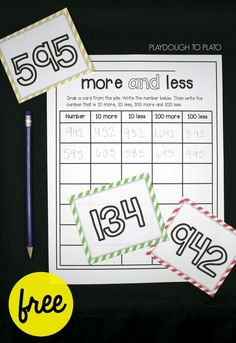 More and Less Number Sense Game Free number sense activity for kids! Draw a card and find the number that is 10 more, 10 less, 100 more and 100 less. Great for first grade math and second grade math! Number Sense Activities, Kindergarten Math Activities, Numbers Kindergarten, Teaching Math, Teaching Ideas, Maths, Teaching Time, Math Resources, Numeracy Activities