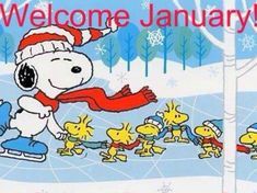 Welcome January with Snoopy & Woodstock.