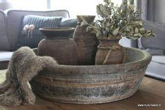 Oude ronde houten bak 66,5 cm | Oude troggen, bakken & manden | Huis & Haard landelijke woonaccessoires webshop