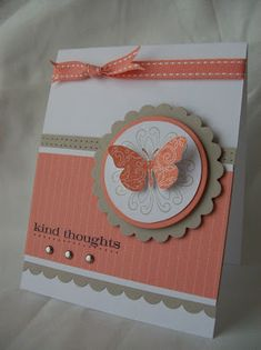 Kind Thoughts by sparklegirl - Cards and Paper Crafts at Splitcoaststampers Tarjetas Stampin Up, Tarjetas Diy, Stampin Up Cards, Handmade Birthday Cards, Greeting Cards Handmade, Birthday Card Making, Birthday Tags, Cute Cards, Diy Cards