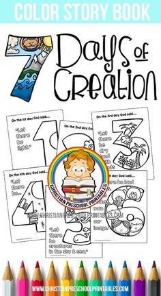 Creation Preschool Printables - Free Days of Creation Printable Pack. This Creation Activity pack includes creation coloring pages - Preschool Bible Lessons, Bible Lessons For Kids, Preschool Bible Crafts, Creation Preschool Craft, Toddler Bible Crafts, Sunday School Activities, Sunday School Crafts, Preschool Printables, Preschool Activities
