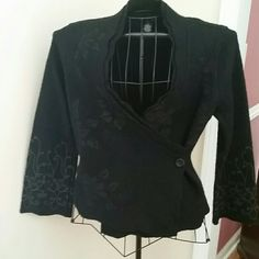 FALL PREVIEW Gorgeous Black Wrap Cardigan Details  Galore on this Black Wrap Cardigan. It's 100% Wool.  Detailing all over, even on the back. This is a must for your closet. It spells CLASS! Jackets & Coats Blazers