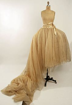 Ivory Wedding Gown With Tulle, American, 20th Century
