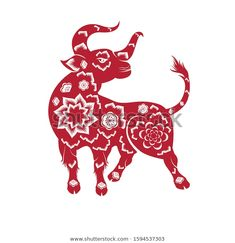 Happy Chinese New Year 2021 Year Stock Vector (Royalty Free) 1594537303 Chinese New Year Zodiac, Happy Chinese New Year, Apricot Blossom, Cherry Blossom, Make A Paper Airplane, New Year Designs, Images Wallpaper, Chinese Art, Moose Art