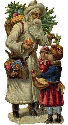 Shop Victorian Santa Christmas Ornament created by xmasstore. Images Vintage, Vintage Christmas Images, Christmas Scenes, Victorian Christmas, Father Christmas, Santa Christmas, Christmas Pictures, Vintage Cards, Vintage Postcards
