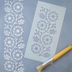 This Folk inspired repeating border is very versatile and works beautifully with the Malmo and Lund stencils. Stencil Fabric, Stencil Patterns, Stencil Diy, Stencil Designs, Fabric Painting, Painting Stencils, Wall Fabric, Stenciling, Lund