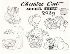 Alice in Wonderland Cheshire Cat Model Sheet (Walt Disney, This is an impressive piece of production - Available at 2015 December 13 - 14 Animation. Cartoon Sketches, Disney Sketches, Disney Drawings, Disney Kunst, Disney Art, Alice Disney, Disney Wiki, Walt Disney, Character Design Animation
