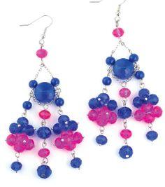#DIY Pink and Blue Chandelier Earrings